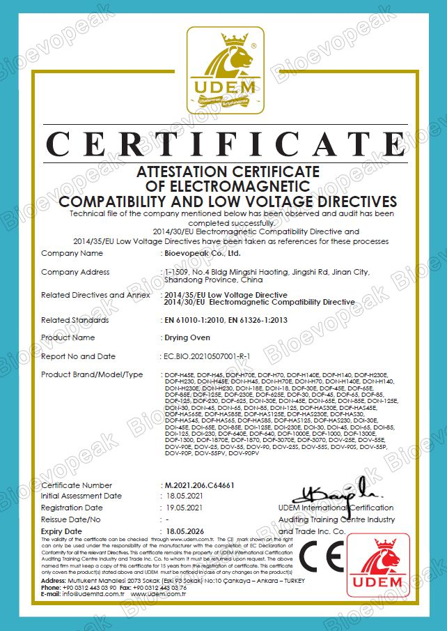 Dring oven CE Verification